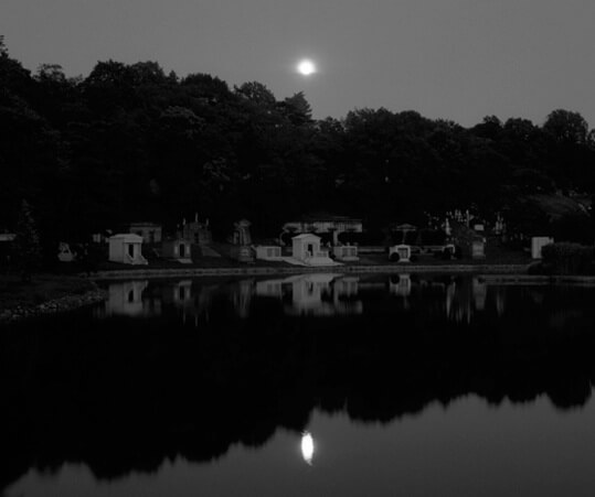 The Lake at Brooklyn's Green-Wood Cemetery at night