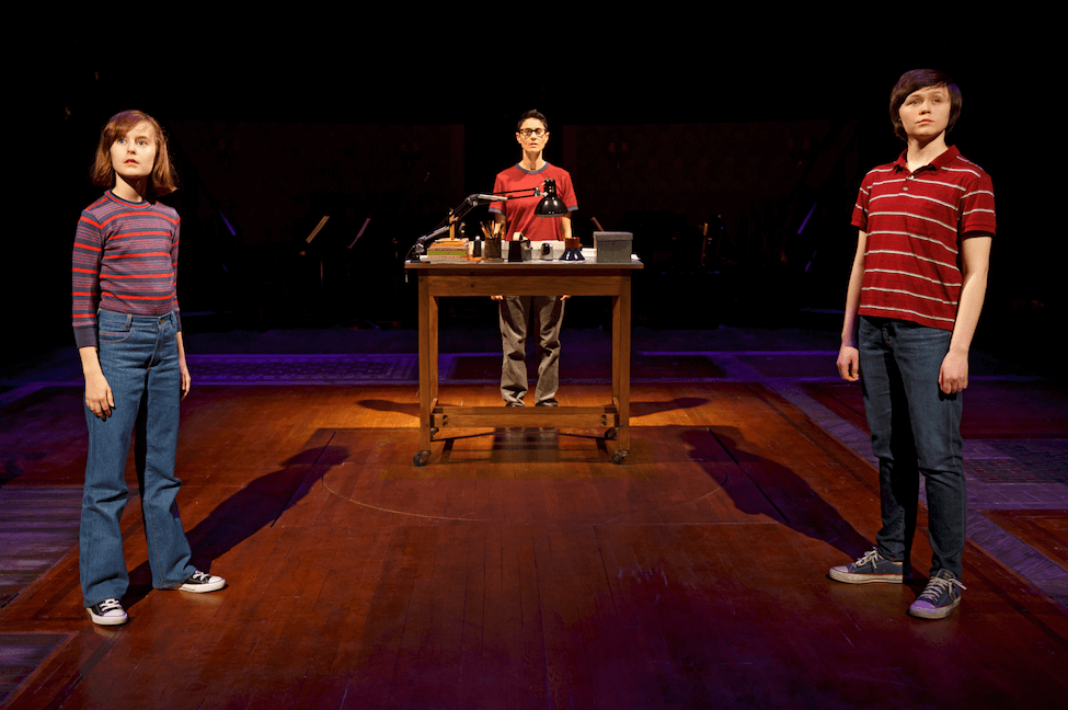 "Sydney Lucas as Small Alison, Beth Malone as Alison, and Emily Skeggs as Medium Alison in ""Fun Home"" (c)Joan Marcus"