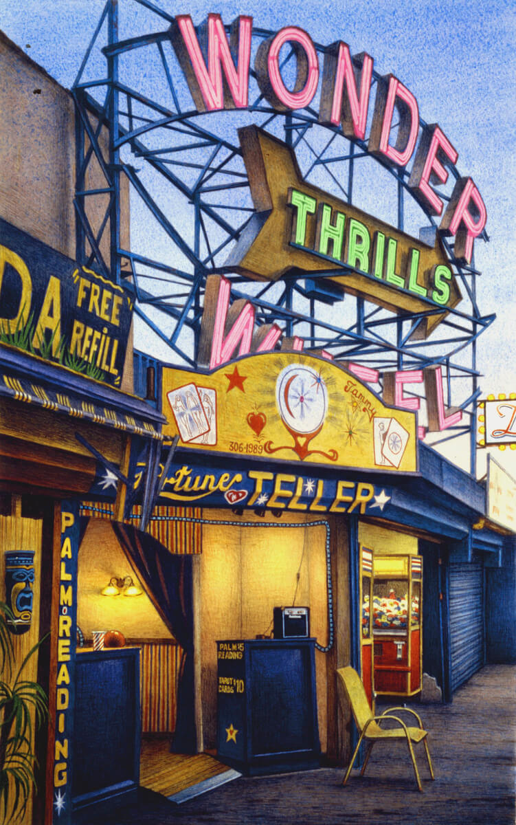 Frederick Brosen (American, born 1954). Fortune Teller, Jones Walk, Coney Island, 2008. Watercolor over graphite on paper, 17 7/8 x 11 ¼ in. (45.4 x 28.6 cm). Courtesy of Hirschl & Adler Modern, New York. Photo: Joshua Nefsky, courtesy of Hirschl & Adler Modern, New York; © 2013 Frederick Brosen/Artists Rights Society (ARS), New York