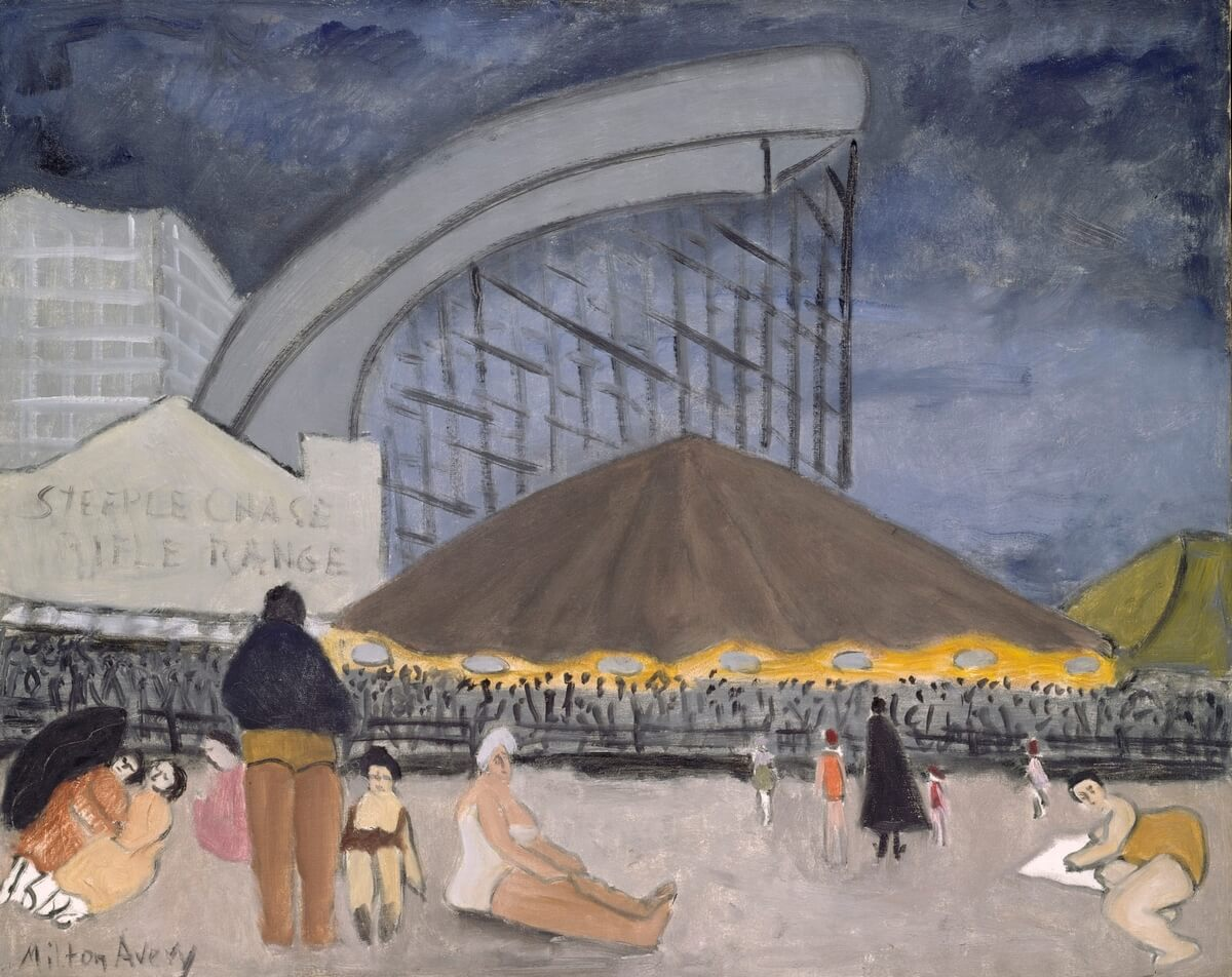 Milton Avery (American, 1885–1965). The Steeplechase, Coney Island, 1929. Oil on canvas, 32 x 40 in. (81.3 x 101.6 cm). The Metropolitan Museum of Art, New York; Gift of Sally M. Avery, 1984 (1984.527). Photo: © The Metropolitan Museum of Art, courtesy of Art Resource, New York; © 2013 Milton Avery Trust/Artists Rights Society (ARS), New York